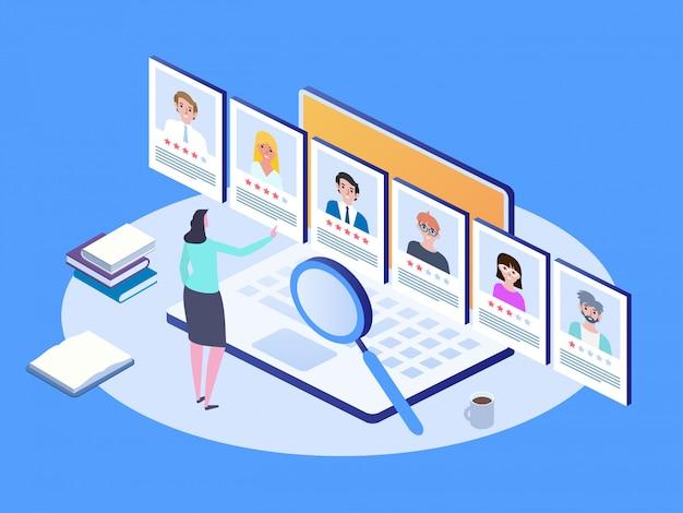 Entretien d'embauche, agence de recrutement. concept d'embauche et de recrutement isométrique.