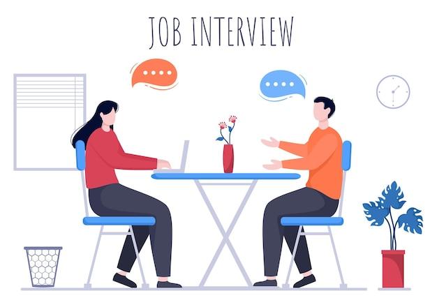 Entretien d'embauche, candidat et responsable rh. idée d'emploi et d'embauche, homme ou femme d'affaires à table, illustration vectorielle pour la conversation, carrière, concept de ressources humaines