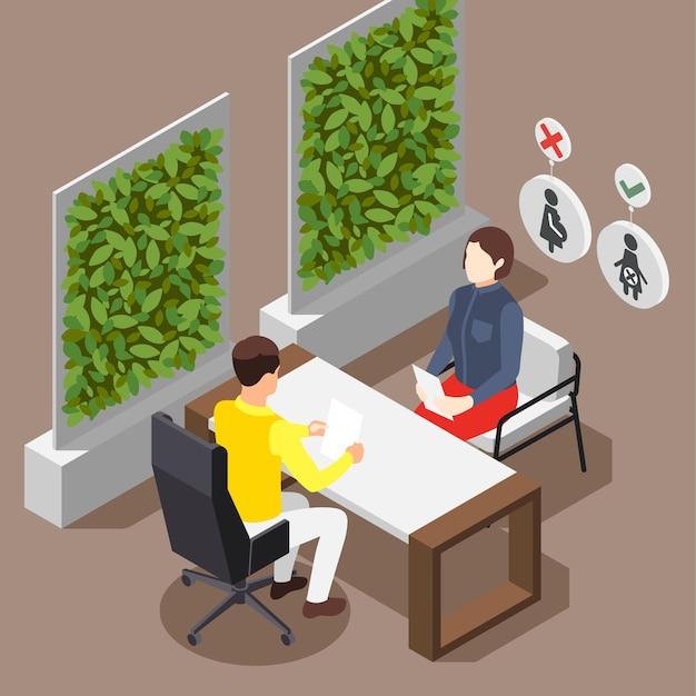 Entretien d'embauche de discrimination avec l'illustration de la candidate enceinte