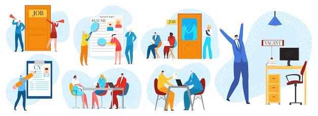 Entretien d'embauche, embauche et recrutement ensemble d'illustrations. processus d'embauche avec des personnes en attente d'entrevue de recrutement d'entreprise au bureau, rh, cv et entretien, employeur.