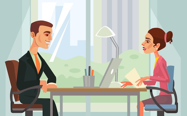 Entretien d'embauche illustration de dessin animé de personnages de travailleurs