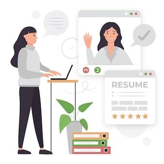 Entretien d'embauche en ligne illustré