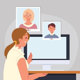 Entretien d'embauche en ligne par ordinateur