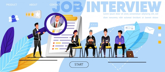 Entretien d'embauche, recrutement. site web, page de destination