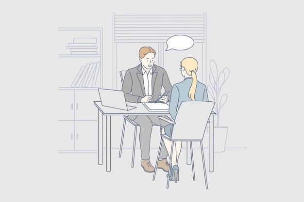 Entretien d'embauche, service, rh, communication, concept d'entreprise