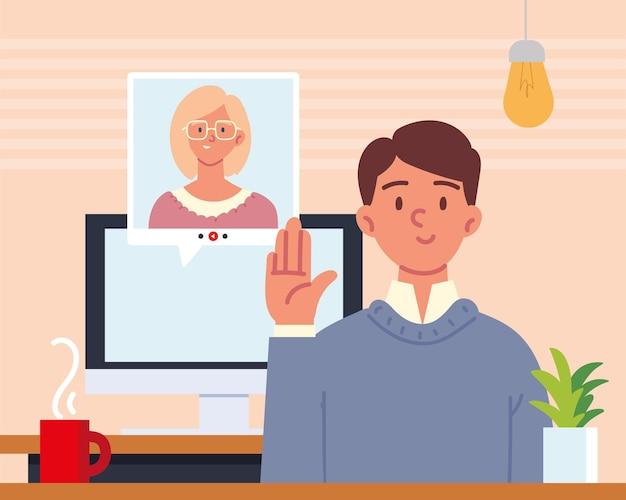 Entretien en ligne de personnes avec appel vidéo