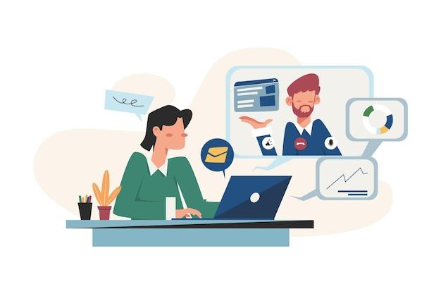 Entretien en ligne à la recherche d'un employé pour un emploi