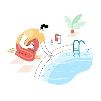 Entretien piscine. illustration vectorielle de l'homme chocs et algicides la piscine