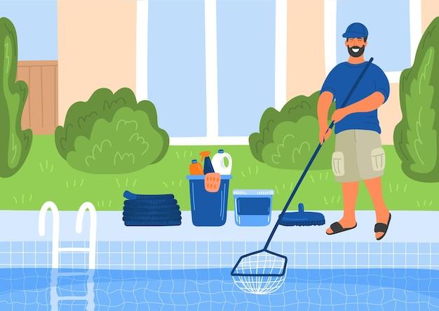 Entretien de la piscine. nettoyeur de piscine avec maison ou bâtiment d'hôtel derrière lui.