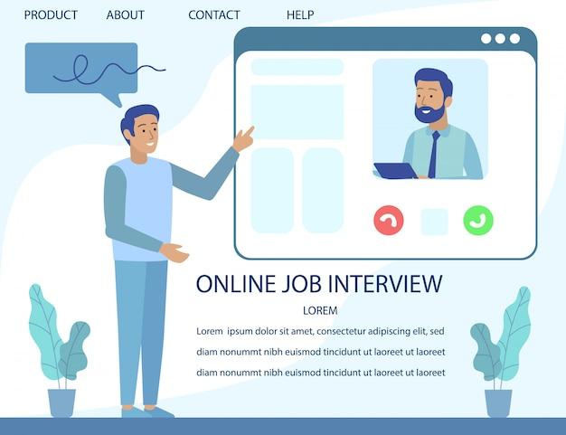Entrevue d'emploi en ligne pour la publicité d'une page de destination