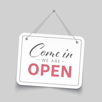 Entrez, nous sommes un signe ouvert. illustration