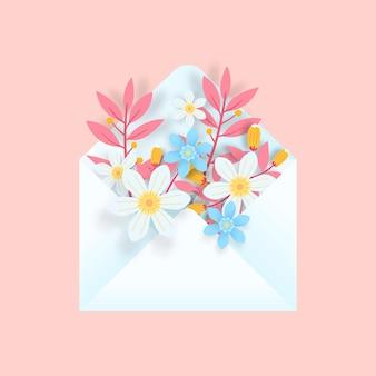Enveloppe 3d Avec Des Fleurs. Art De Papier 3d. Vecteur Premium
