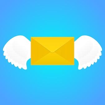 Enveloppe avec des ailes.