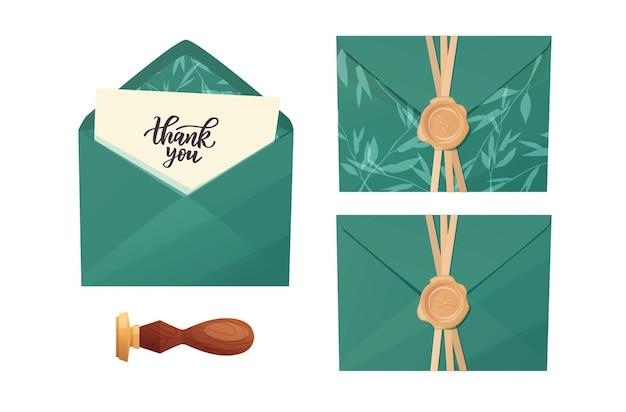 Enveloppe artisanale avec lettre de remerciement à la main