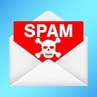 Enveloppe blanche avec email de spam à l'intérieur
