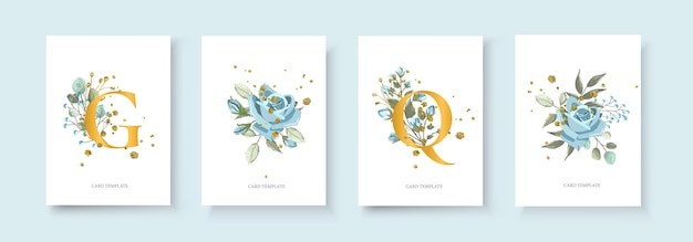 L'enveloppe de carte d'invitation doré floral de mariage sauvent la conception de minimalisme de date avec la plante de plante bleu marine et la fleur rose bleue et les éclaboussures d'or. style aquarelle de modèle de vecteur de décoration élégante botanique