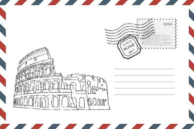 Enveloppe avec coliseum dessiné à la main