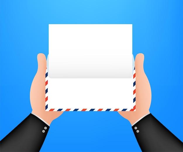 Enveloppe de courrier aérien avec timbre postal isolé sur fond blanc. illustration vectorielle.