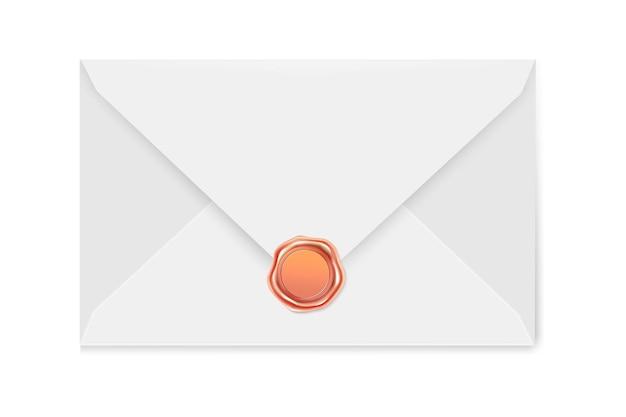 Enveloppe de courrier blanc avec un timbre. illustration du sceau de luxe en cire