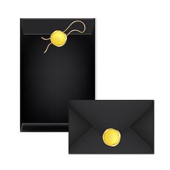 Enveloppe de courrier différente blanche avec un timbre en or. illustration du sceau de luxe en cire