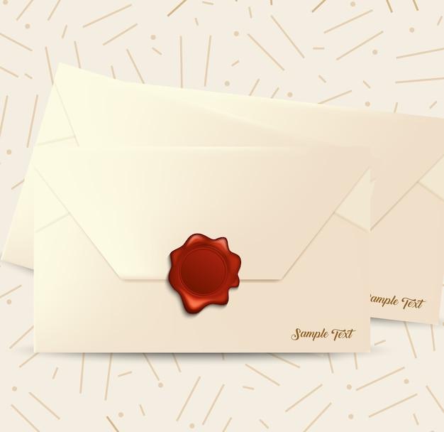 Enveloppe de courrier avec joint de cire rouge