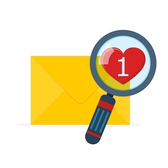 Enveloppe de courrier avec loupe au design plat