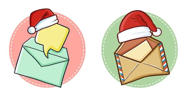 Enveloppe de courrier mignon et drôle portant le chapeau du père noël pour noël