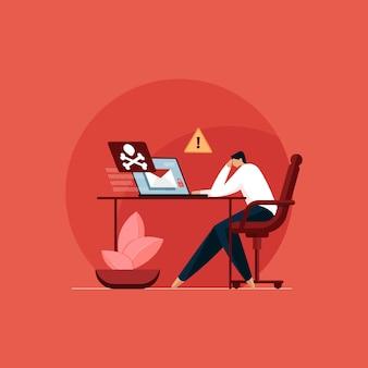 Enveloppe avec crâne et virus informatique attaque de pirate avec alerte spam et arnaque
