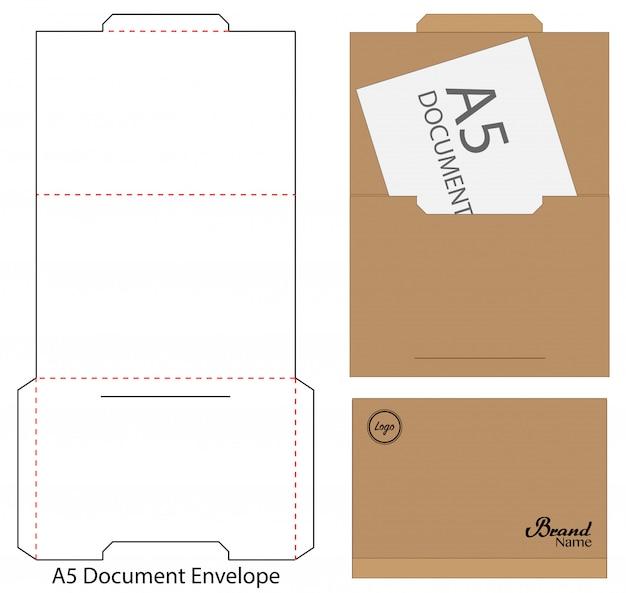 Enveloppe die cut maquette modèle illustration vectorielle.