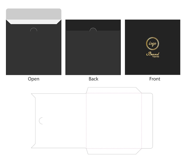 Enveloppe die cut mock up template vecteur