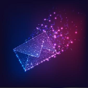 Enveloppe électronique volante futuriste, email sur dégradé bleu foncé à violet.