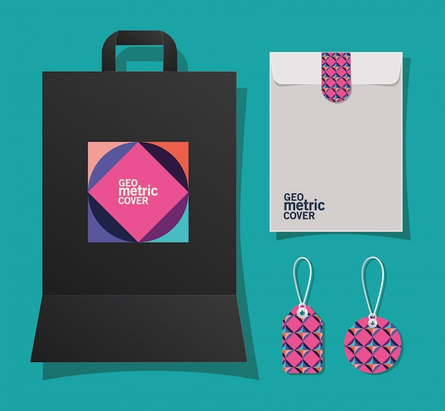 Enveloppe et étiquettes de sac de couverture géométrique