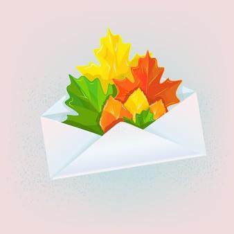 Enveloppe avec feuilles d'automne illustration