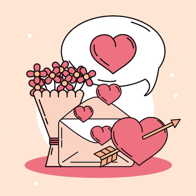 Enveloppe, flèche, coeur et bouquet de fleurs