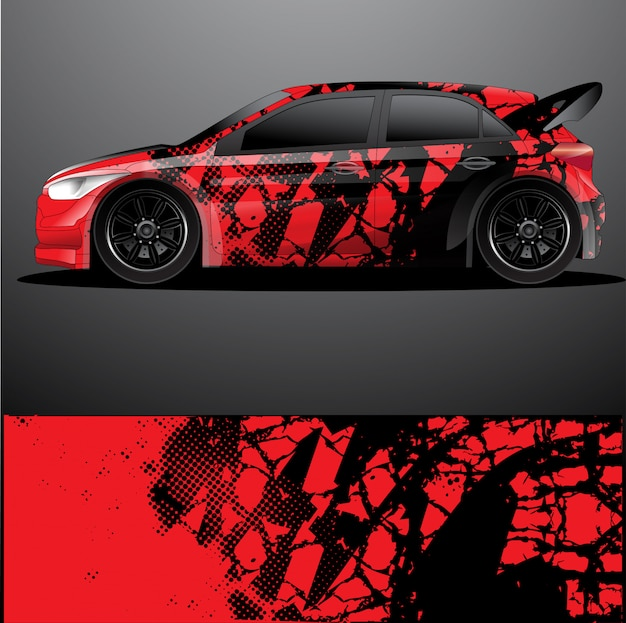 Enveloppe graphique de voiture de rallye, dessin abstrait