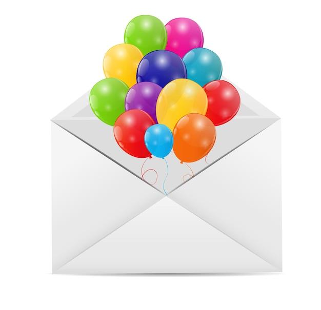 Enveloppe avec illustration vectorielle de ballons