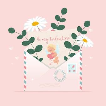 Enveloppe avec lettre d'amour avec image de cupidon