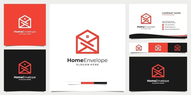 Enveloppe à la maison ou icône du logo par e-mail avec modèle de carte de visite