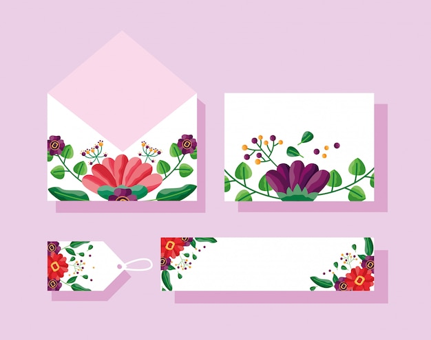 Enveloppe de mariage, carte, étiquette et étiquette avec motif de fleurs