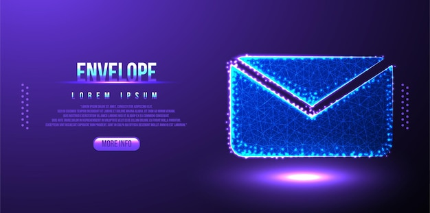 Enveloppe, message polygonale low poly wireframe background