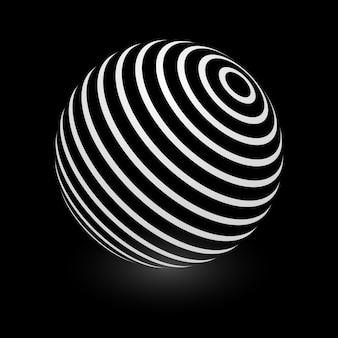 Enveloppe de motif rayé élément sphère abstraite sur fond noir