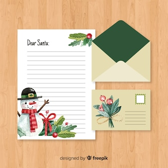 Enveloppe de noël créative et lettre en aquarelle
