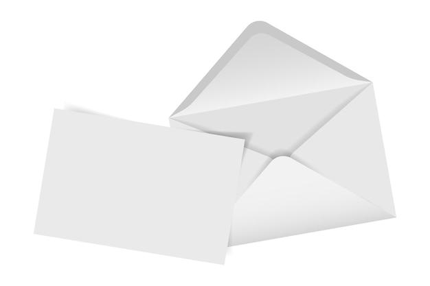 Enveloppe avec note vierge isolée