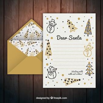 Enveloppe d'or avec la lettre de noël