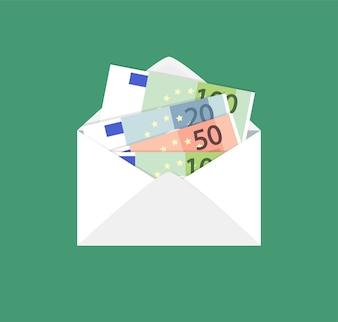Enveloppe ouverte avec des billets en euros.