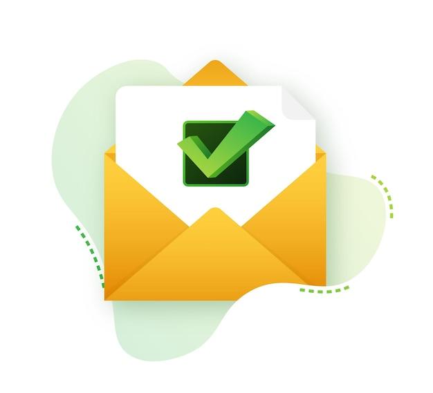 Enveloppe ouverte et document avec coche verte. courriel de vérification. illustration vectorielle.