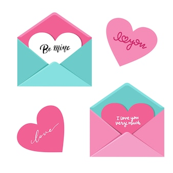 Enveloppe ouverte avec grand coeur dedans