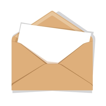 Enveloppe ouverte isolée sur un fond