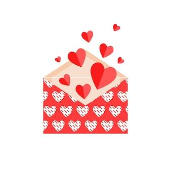 Enveloppe ouverte rouge avec des coeurs pour la saint-valentin