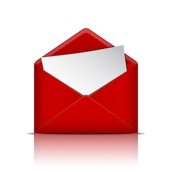 Enveloppe ouverte rouge avec du papier.